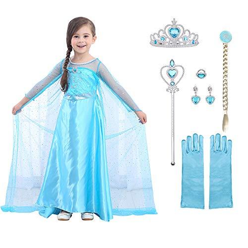 URAQT Elsa Frozen Costume, Set da Principessa Elsa Corona Bacchetta Guanti Treccia, Elsa Costume di...