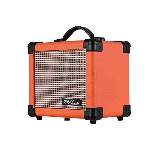 Bedler MA-1 10 Watt Portable Desktop Electric Guitar Speaker Amplifier with Two Adjustable Channels Combo Amp Orange UK Plug