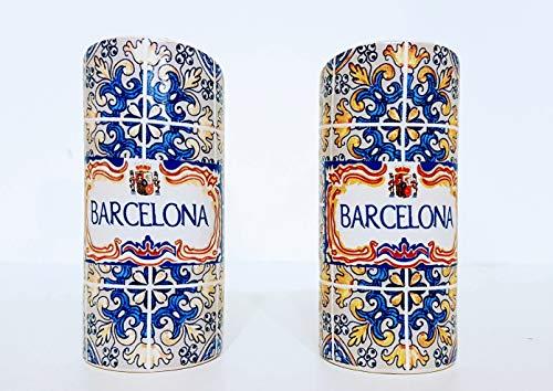 MR Juego de Salero y Pimentero en cerámica, diseño Azulejo