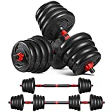 MOVTOTOP Adjustable Dumbbells Set Barbell Weight Set 66LBS-Solid Dumbbell Weights With Long...