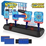 Growsland Nerf Target for Kids - Auto Reset Electronic Shooting Target for Nerf Guns Boy Toys Digital Scoring Light Sound Effect with 20 Pcs Darts & 1 Hand Wrist Bands (No Including Gun)