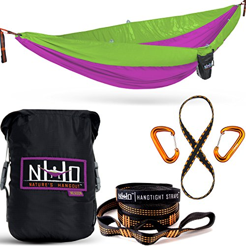 Double Camping Hammock - Portable Two Person Parachute Hammock for Outdoor Hanging. Heavy Duty & Lightweight, Best for Backpacking & Travel. River Edition (Royal Blue/Sky Blue)