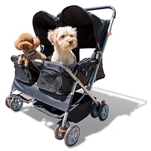 Paws & Pals Twin Double Folding Black Pet Stroller