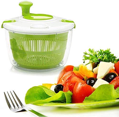 HOLYZON Kitchen Manual Salad Wash Basket - Dryer Clean Gadget Drainer - Vegetables-Fruits - Serving...