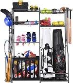 Mythinglogic Golf Storage Garage Organizer,2 Golf Bag Storage Stand and Other Sports Equipment Storage Rack,Garage Organizer Shelves