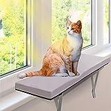 MASTERTOP Perchoir de Fenêtre pour Chat 60, 5 x 30, 5 CM avec Housse en Velours de Grand Confort Amovible...