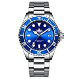 42mmX50mm brushed and polished 316L stainless steel case with 120-click unidirectional bezel Swiss Quartz Ronda 515 movement with analog display, wide date window at the 3 o'clock position watch total weight 180 g with solid 316L stainless steel band...