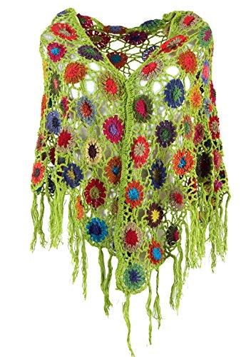 Guru-Shop Häkelstola, Hippie Blümchen Häkelschal, Herren/Damen, Lemon, Baumwolle, Size:One Size, Schals Alternative Bekleidung