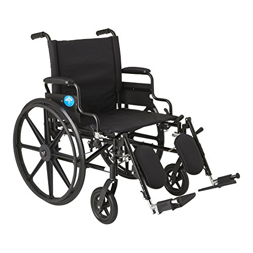 "Medline Premium Ultra-Lightweight Wheelchair with Flip-Back Desk Arms and Elevating Leg Rests for Extra Comfort, Black, 22"" x 18' Seat"
