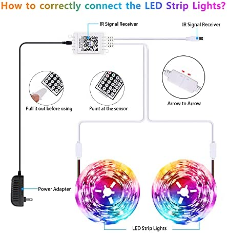 Gusodor Led Strip Lights 65.6 Feet Led Lights Music Sync Smart Rope Lights Color Changing Timing with 44 Key Remote App Control RGB Tape Light DIY Colors Led Lights for Bedroom Home TV Party 18