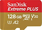 SanDisk Extreme Plus 128GB microSDXC Class 10 Speicherkarte mit SD-Adapter, Gold/Rot