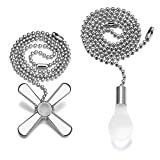 24-inch Ceiling Pull Chain, Light Bulb and Fan Cord Extension (Silver)
