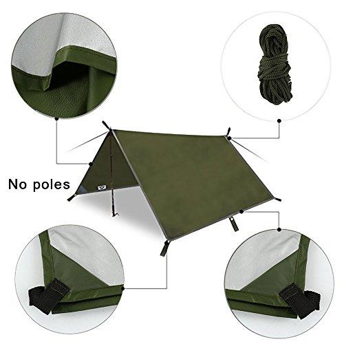 Fulllove Zeltplane Armee Grün Ultraleicht 3x3m für Ourdoor Camping, Tarp für Hängematte Wasserdicht Regenschutz Sonnenschutz