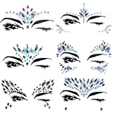 Face Gems Rhinestones, Lady Up 6 PCS Face Jewels Tattoo Set Mermaid Rave Rhinestones Costume Jewelry for Women and Men