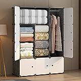 KOUSI Portable Wardrobe Closets 14'x18' Depth Cube Storage, Bedroom Armoire, Storage Organizer with...