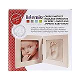 Artemio 13040008 Kit Moulage Empreinte de Bébé et Cadre Photo Bois, Blanc, 12,5 x 12,5 x 1,2 (*2)