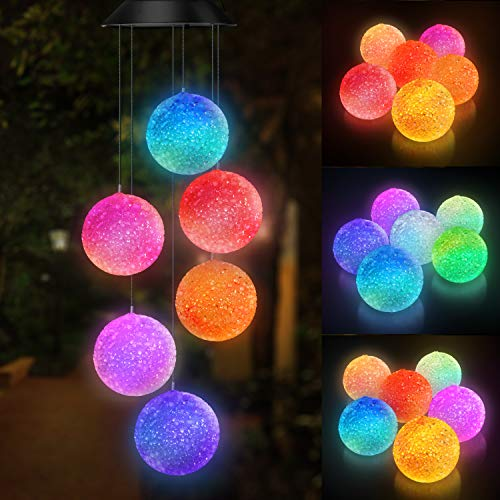 Topspeeder Color Changing Solar Power Wind Chime Spiral Spinner...