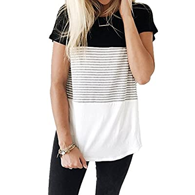 Classic summer striped shirt with short sleeves Simple, chic and delightful top for summer,you can pair it with jeans or leggings This tee is breathable and great to wear all day Recommended With Cold Water / Do Not Bleach / Hang Or Line Dry Please a...