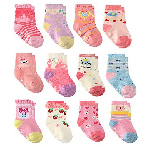 12 Paia Ragazza del Neonato Infantile Bambino Calzini di Cotone, Calzini Antiscivolo per Bambine e Ragazze per Beb (12 paia principessa, 3-5 anni)