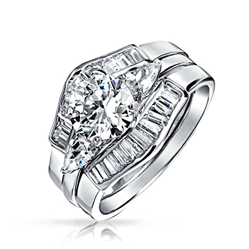 Bling Jewelry 2Ct Redondo Solitario AAA CZ Pave Baguette Banda Guardia Compromiso 3Pcs Juego Juego Anillo Bodas Plata Esterlina 925