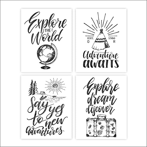 Travel Quotes Wall Art Prints (Set of 4) - Unframed - 8x10s | Typography Wall Art