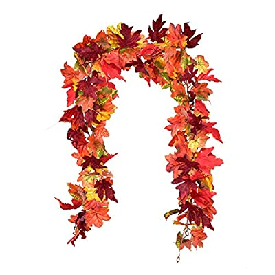 """【Garland size】Each one garland is 6feet long, The 2pc silk hanging fall garland are approximately 12 feet long in total. attached items: Maple leaves: (2.4""""-3.5"""")L x (2.4""""-3.9"""")W. hooks: 2.3"""" L x 2.3""""W, Easy to hang loops at each end. 【Indoor and Out..."""