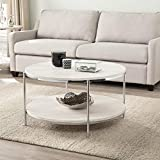 Southern Enterprises Silas Round Faux Stone Cocktail Coffee Table, silver