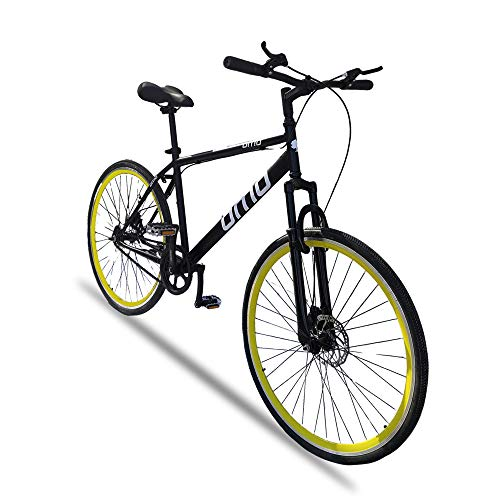Omobikes Ladakh X1 29T - 700c Dual Disc Brakes Front Suspension Single Speed bicycle Hybrid Bike (Yellow)