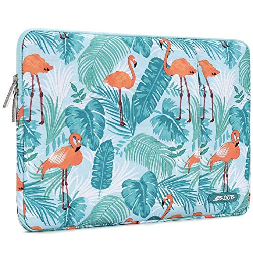 MOSISO Laptop Sleeve Compatible with 2018-2020 MacBook Air 13 inch A2179 A1932, 13 inch MacBook Pro A2251 A2289 A2159 A1989 A1706 A1708,Notebook,Polyester Vertical Flamingo Palm Leaves Bag with Pocket