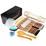 Delamu Sushi Making Kit, 20 in 1 Sushi Bazooka Roller Kit with Chef's Knife, Bamboo Mats, Bazooka Roller, Rice Mold, Temaki Sushi Mats, Rice Paddle, Rice Spreader, Chopsticks, Sauce Dishes, Guide Book