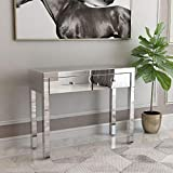 Mecor Mirrored Console Table Occasional Sofa Side Table with 2 Drawers Silver Vanity Makeup Dressing Table Entry Table for Entryway/Hallway/Living Room