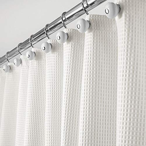 mDesign Hotel Quality Machine Washable Polyester/Cotton Blend Fabric Shower Curtain with Waffle Weave and Rust-Resistant Metal Grommets for Bathroom Showers and Bathtubs - 72' x 72' - Stone White