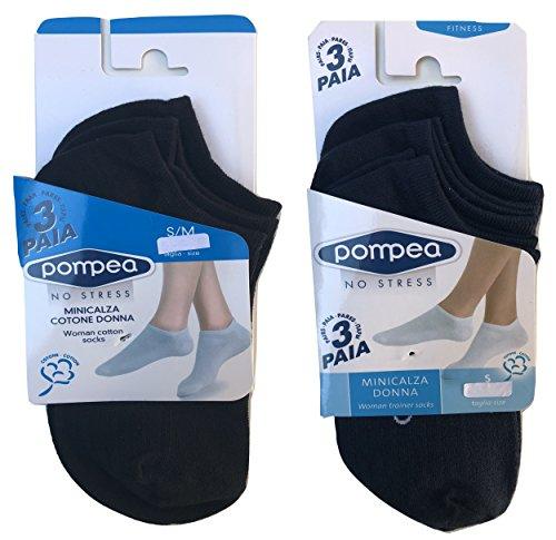 pompea. 6 paia calzini fantasmini invisibili fresco cotone,modello unisex, vari assortimenti. (35/38, 3 nero + 3 blu)