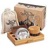 BFWood Kit soin de la barbe avec support en bambou pour homme avec peigne à barbe, pour l'entretien, l'assouplissement, le conditionnement et la mise en forme