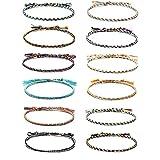 Bracelets D'amitié 12 pcs Multicolore Tissé Mince Cordes Cordon Tressé...