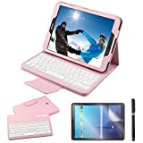 Galaxy Tab S2 9.7 Keyboard Case with Screen Protector & Stylus, REAL-EAGLE Separable Fit PU Leather Case Cover Magnetically Wireless Keyboard for Tab S2 9.7 Inch SM-T810 T813 T815 T819, Pink