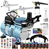 Master Airbrush Cool Runner II Dual Fan Air Compressor Professional Airbrushing System Kit with 3 Airbrushes, Gravity and Siphon Feed - 6 Primary Opaque Colors Acrylic Paint Artist Set - How to Guide