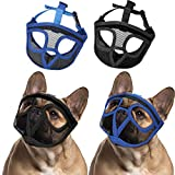 Weewooday 2 Pieces Bulldog Muzzle Dog Short Snout Mesh Mask French American Short Nose Adjustable Breathable Barking Biting Chewing Training for Small Medium Large Dog (Black, Royal Blue,M)