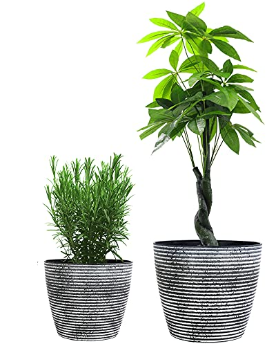 KOTAO 2 Pack 8 Inch Flower Pots & 2 Pack 12 Inch Large Garden Plant Pots for Indoor Outdoor Plants with Drainage Holes (Speckled Stripes)