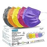 50 Masque Chirurgical médical Masque de Protection Masque jetable Couleur Type 2R EN14683 BFE≥98% 3 Plis MEDI SANTÉ (Multicolor)