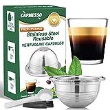 CAPMESSO Coffee Capsule, Reusable Vertuoline Pod Refillable Vertuo Capsules Stainless Steel Compatible with Nespresso Vertuoline GCA1 and Delonghi ENV135(2.5OZ-Double Espresso Cup(Small)