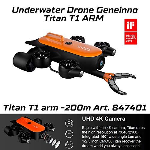 Movesea Drone Subacqueo Titan 200m T6T-1-200BL con Braccio Robotico GENEINNO 847401