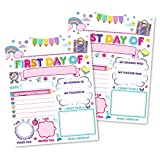 12 Pink First and Last Day of School Interview Signs, Back to School Photo Booth Props 1st Preschool Kindergarten Pre K Grade Reusable Reversible Girl Boy Kid Child 8x10 Card Stock