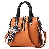 Bolso de cuero de la PU de las mujeres bolsa de mensajero de la piel de la bola de Crossbody solapa del bolso femenino del bolso de hombro color sólido bolsos (Color : Brown, Size : 24x12x23cm)