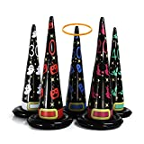 MeiGuiSha 5PCS 24 in Inflatable Witch Hat Ring Toss Game Halloween Games with 8 Plastic Ring Toss.(L)