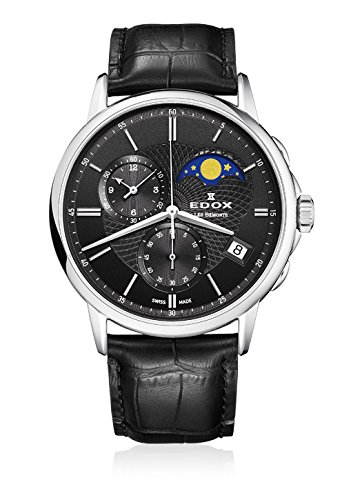 Edox Herren-Armbanduhr Les Bémonts Chronograph Mondphase Datum Quarz 01651 3 NIN