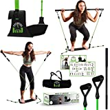 EXERCISE BOARD | Designed in U.S.A | Portable Home Workout Equipment for Women | Legs, Arms, Shoulder, Chest, Belly & Butt Exercise Equipment | Pilates Bar Kit | Multiple Level Resistance Band & Bar