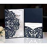 BLUGUL 10pcs Tarjeta de invitacin de Boda, Invitaciones de Boda, Hollow Floral Design, con 2 Tarjetas en Blanco, Azul Marino