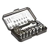 AmazonBasics - Juego de llave de trinquete y puntas, 28 piezas
