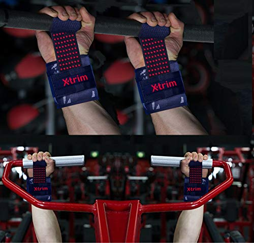 Xtrim Cotton Durafit Spotted Extra Grip Weightlifting Strap - Silicon Coated - Deadlift Straps for Weight Lifting, Bodybuilding, Powerlifting, and Strength Training, Crossfit - (Red)